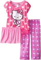 Hello Kitty Big Girls' All Over Hearts 2-Piece Pajama Set