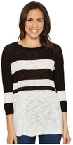 TWO by Vince Camuto - Lightweight Uneven Stripe Scoop Neck Slub Pullover Women's Long Sleeve Pullover