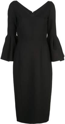 Carolina Herrera v-neck bell sleeve pencil dress