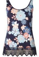 Dorothy Perkins Womens Navy Floral Crochet Vest- Blue