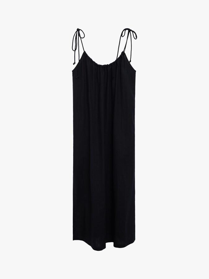 Thumbnail for your product : MANGO Melon Linen Blend Cut-Out Midi Dress, Black