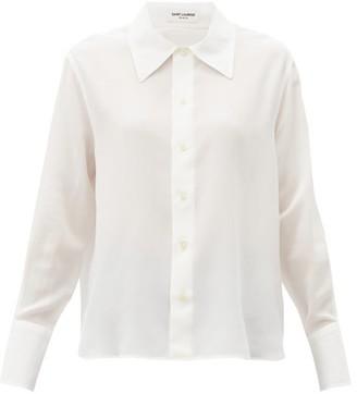 Saint Laurent Relaxed Cotton-poplin Blouse - White