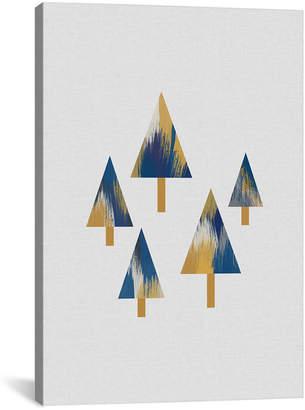 iCanvas icanvasart Trees Blue & Yellow Canvas Artwork By Orara Studio