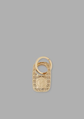 Armani Casa Oval-Shaped Maru Keychain In Bronze With Engraved Logo