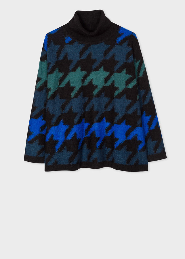 Paul Smith Women's Black Oversized Houndstooth Pattern Sweater