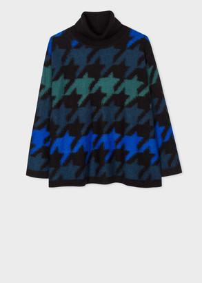 Paul Smith Women's Black Oversized Houndstooth Pattern Sweater
