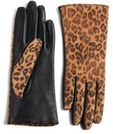 Lord & Taylor Touch Screen Animal Print Leather Gloves