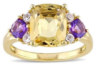 Miadora Yellow Plated Sterling Silver Cushion-cut Citrine African Amethyst and White Topaz Cocktail