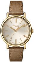 Timex Round Leather Strap Watch Gold