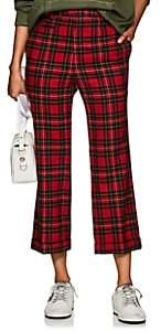 R 13 Women's Wool Plaid Straight-Leg Trousers - Red
