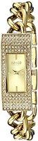 SO&CO New York Women's 5058.3 Madison Quartz Crystal Filled Bezel 23K Gold Tone Slim Stainless Steel Chain Link Bracelet Watch