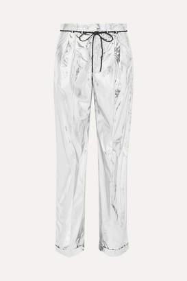 Maison Margiela Metallic Coated Shell Wide-leg Pants - Silver