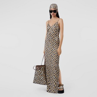 Burberry Monogram Print Silk Satin Slip Dress