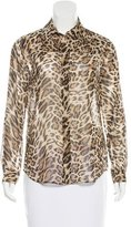 L'Agence Leopard Print Button-Up Top