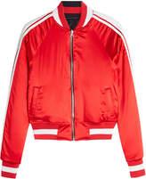 Amiri Reversible Silk Bomber Jacket with Leather