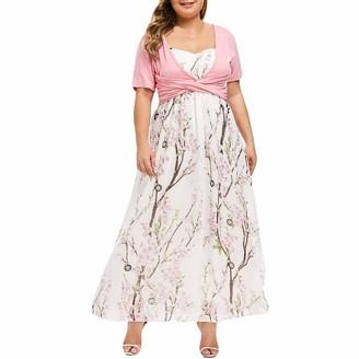 Kanpola Women 2PC Plus Size 0-Neck Praty Dress Floral Printed High Waisted Swing Skirt Short Sleeve Long Dress Pink
