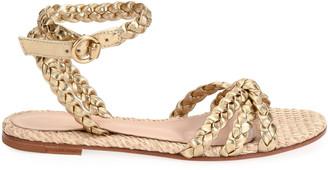 Gianvito Rossi Raffia & Braided Leather Flat Sandals