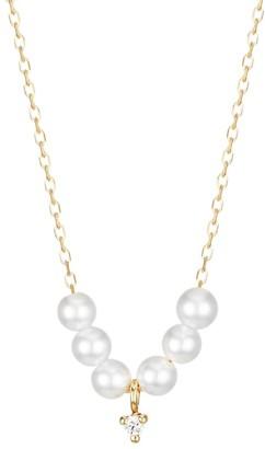 Mizuki Sea Of Beauty 14K Yellow Gold, Diamond & 3MM White Pearl Necklace