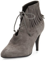 Saint Laurent Anita Suede Fringe Bootie, Road Gray