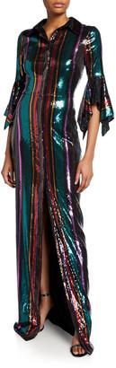 Badgley Mischka Disco Stripe Sequin Column Gown with Slit