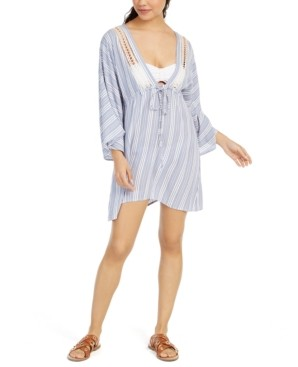 Raviya Striped Crochet-Trim Cover-Up Tunic Women's Swimsuit
