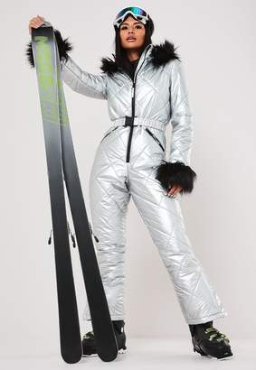 Missguided Msgd Ski Silver Metallic Padded Snow Suit
