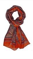 Ayurvastram Paisley Silk Scarf: Grey and Red
