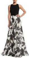 Carmen Marc Valvo Sleeveless Floral Jacquard Ball Gown