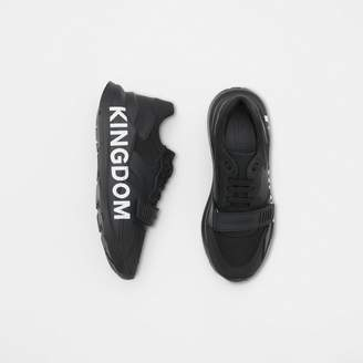 Burberry Kingdom Print Neoprene and Leather Sneakers