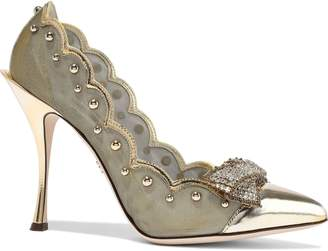 Dolce & Gabbana Lori Embellished Mirrored-leather And Mesh Pumps