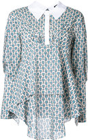 Jil Sander Navy printed blouse - women - Cotton - 34