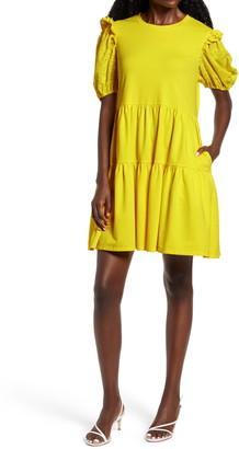 ENGLISH FACTORY Eyelet Sleeve Knit Dress