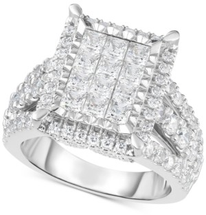 TruMiracle Diamond Square Halo Cluster Ring (3 ct. t.w.) in 14k White Gold