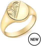 Love GOLD 9ct Gold Oval Half Engraved Pattern Signet Ring