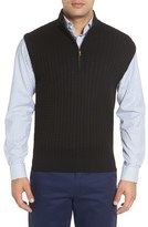 Robert Talbott Cable Knit Quarter Zip Cotton Blend Sweater Vest