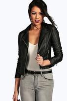 boohoo Womens Torah Vegan Leather Biker Jacket