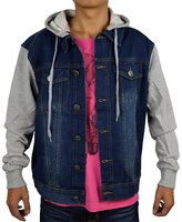 PHOENISING PHEONSING Men's Fleece Sleeve Detachable Hood Light Weight Denim Jacket