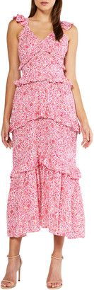 MISA Morrison Ruffled Floral Print Maxi Dress