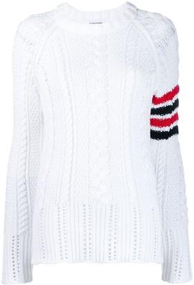Thom Browne 4-Bar Aran cable knit jumper