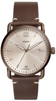 Fossil The Commuter Leather Strap Watch, 42Mm