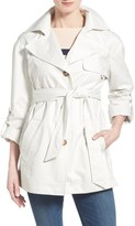 Ellen Tracy Short Single Breasted Chintz Trench Coat