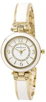 Anne Klein Women's AK/2016WTST Swarovski Crystal Accented Gold-Tone and White Bangle Watch and Bracelet Set