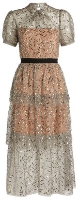 Self-Portrait Sequin-Embellished Tiered Dress