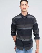 ONLY & SONS Brushed Cotton Shirt with Block Stripe