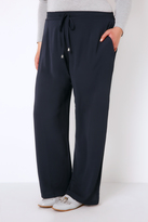 Yours Clothing Navy Crepe Drawstring Trousers