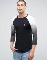 Religion 3/4 Sleeve T-shirt With Raglan Fade Detail Sleeve