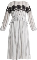Muveil Floral-embroidered striped-cotton dress