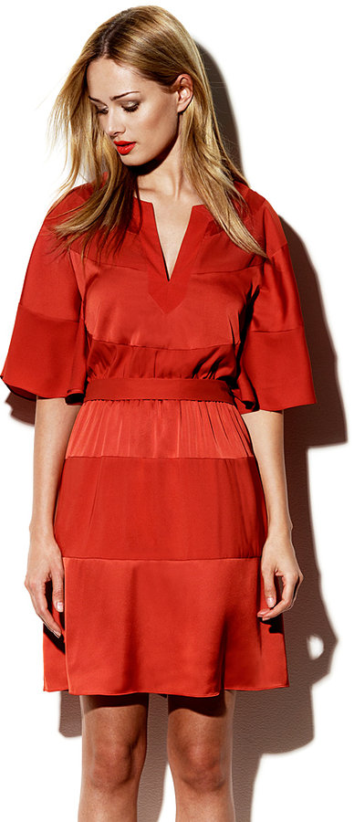 Vince Camuto Tonal Striped Dress Red
