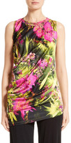 Fuzzi Fern Print Draped Jersey Top