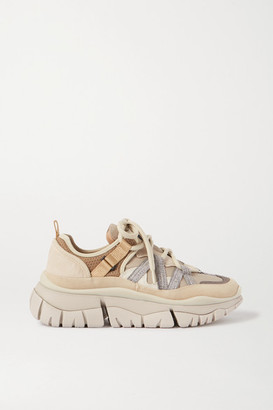 Chloé Blake Suede, Leather And Mesh Sneakers - Beige